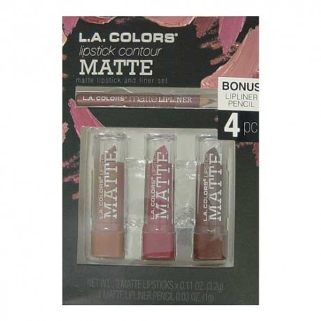 L.A. COLOURS LIPSTICK CONTOUR MATTE MARRON SET