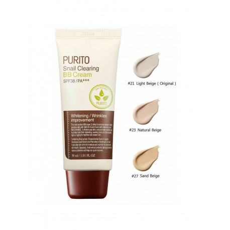 PURITO SNAIL CLEARING BB CREAM TONO 21 LIGHT BEIGE SPF38/PA+++ 30ML