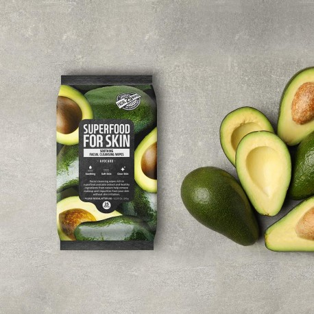 FARM SKIN SUPERFOOD FOR SKIN CLEANSING WIPES SOOTHING AVOCADO